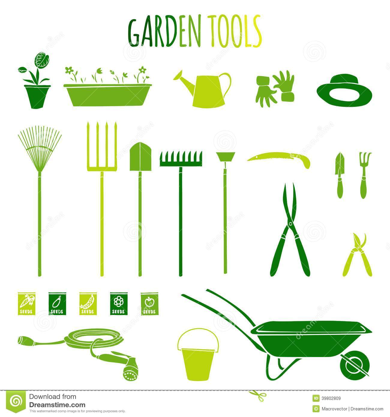 Garden tools icons set stock vector image 39802809 for Gardening tools cartoon
