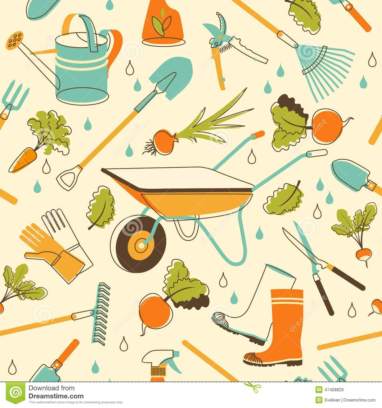 Garden tools seamless background in doodle style stock for Gardening tools drawing