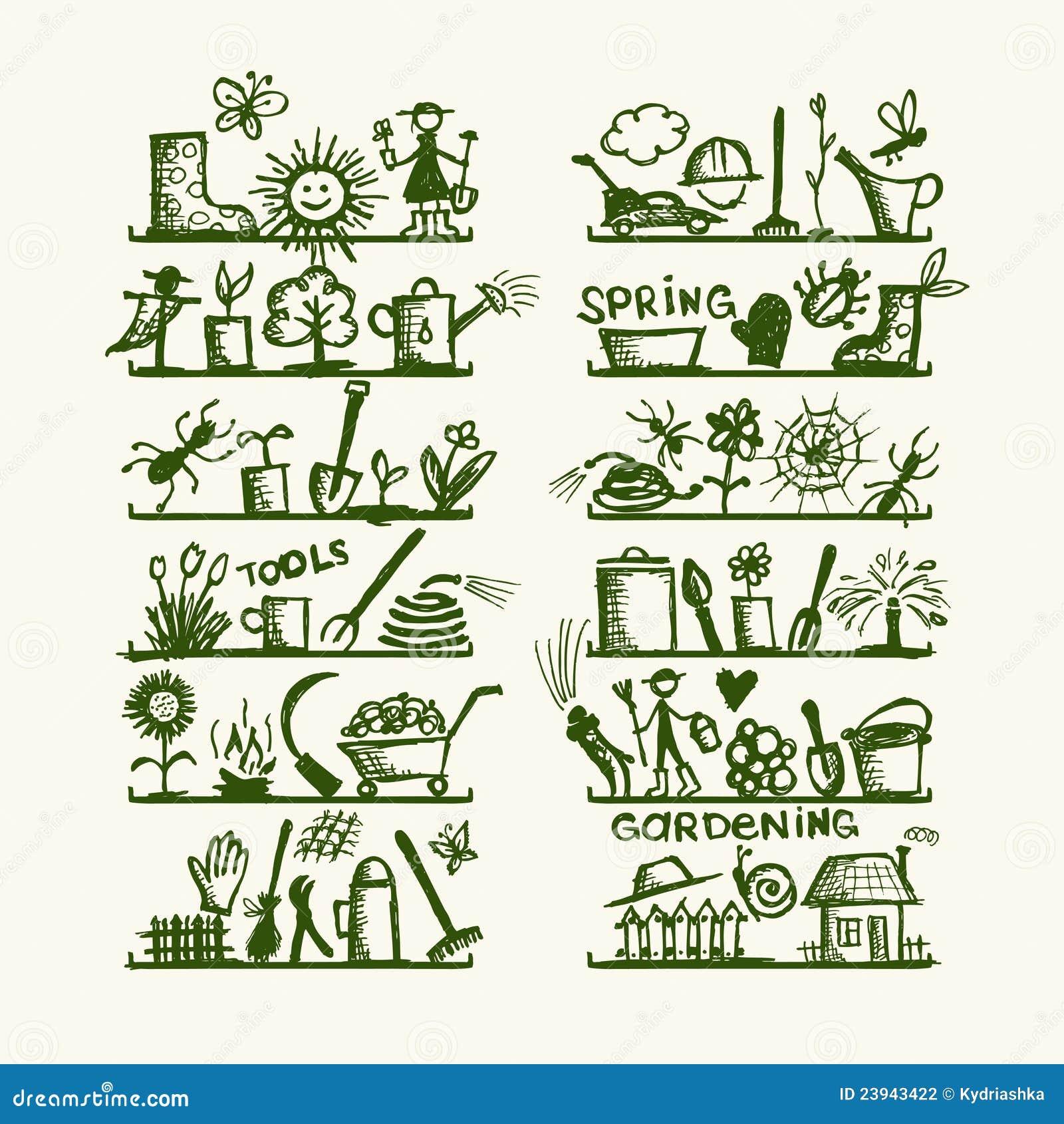 Garden Stock Image Image Of Design: Garden Tools On Shelves, Sketch For Your Design Stock