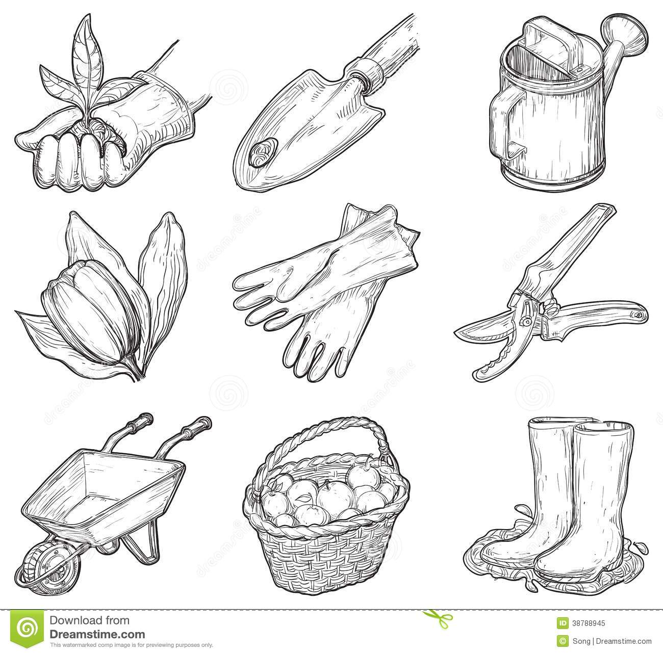 Garden tools and things stock vector image of puddle for Things used for gardening