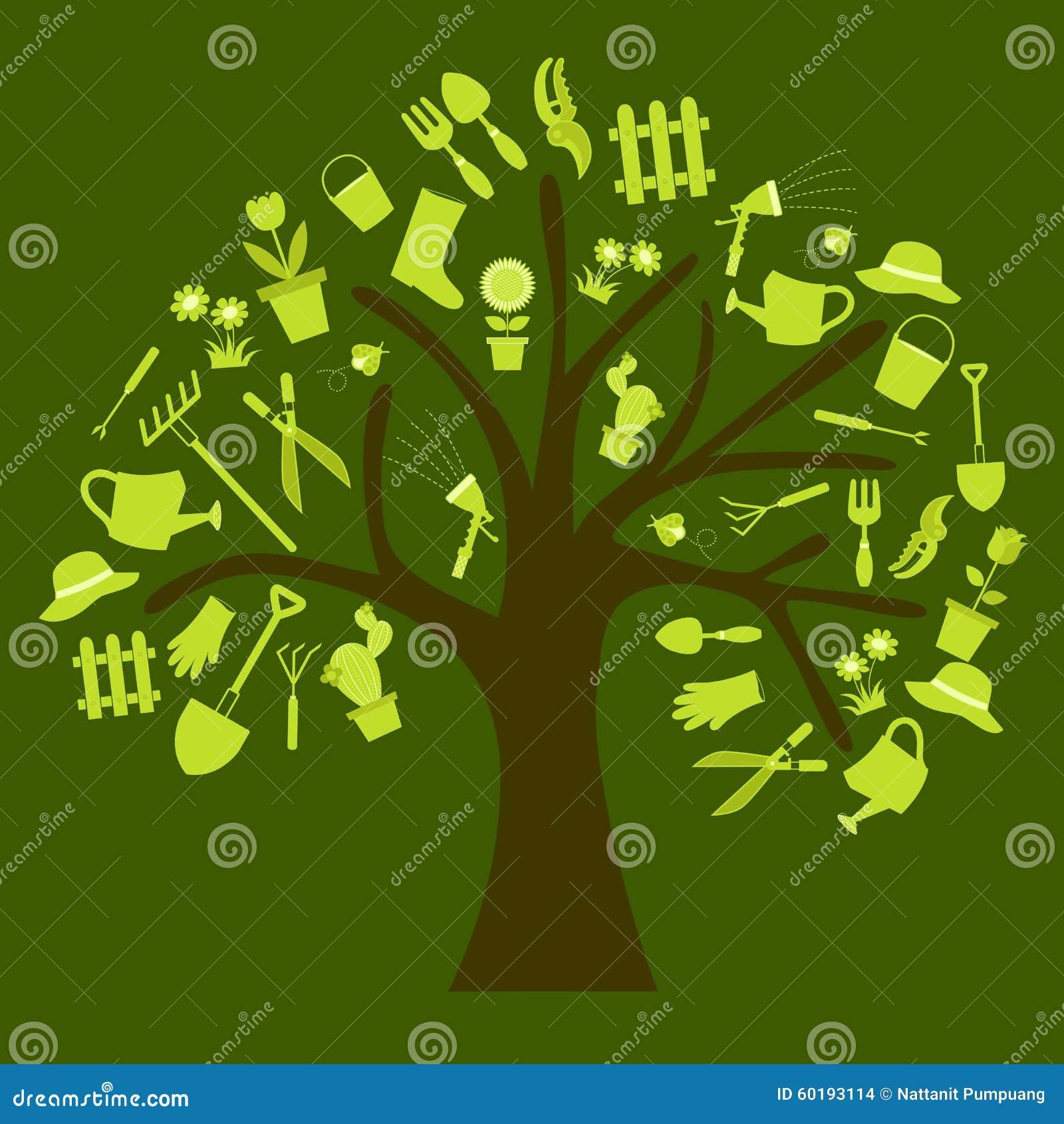 Garden tools tree stock vector. Illustration of garden - 60193114