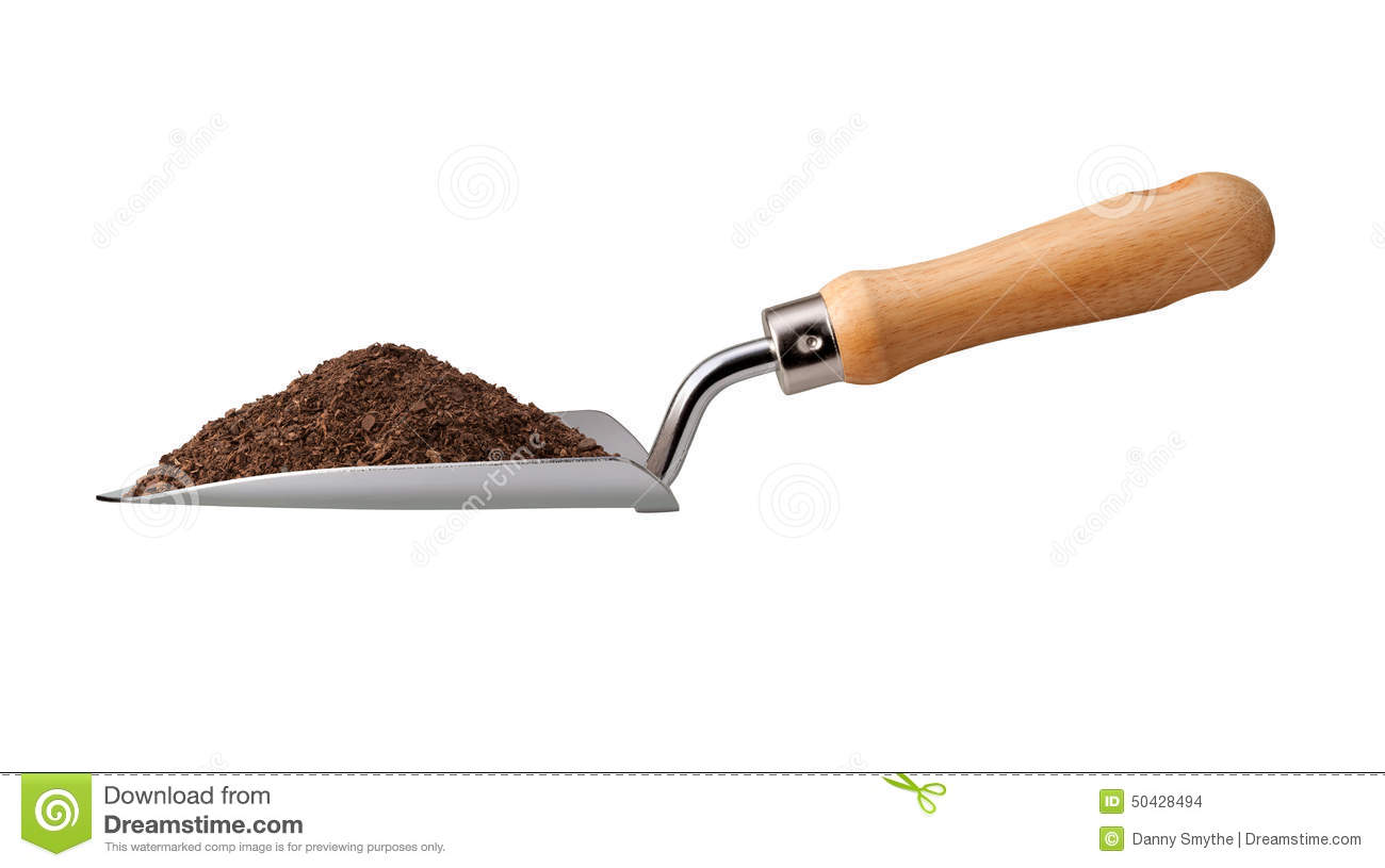 Illustrations Of A Trowel : Garden trowel with potting soil stock photo image