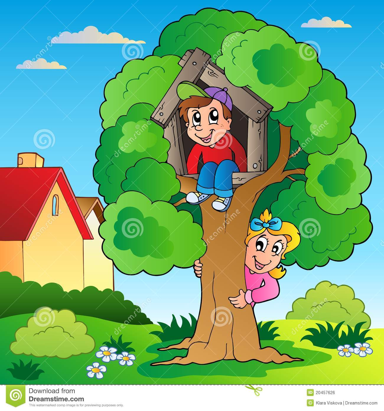 Garden With Two Kids And Tree Royalty Free Stock Image Image 20457626