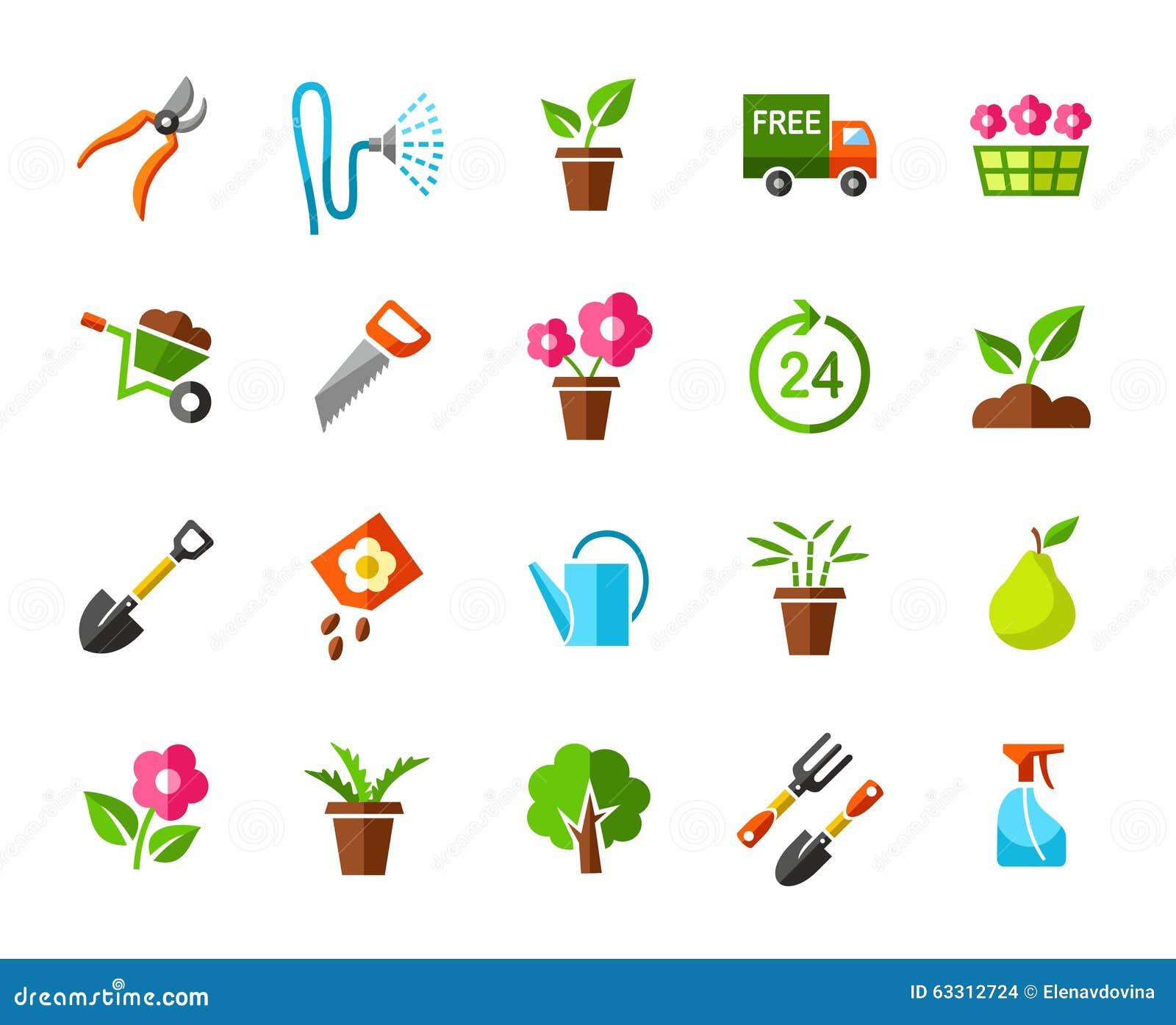 Garden vegetable garden icons colored stock vector for Gardening tools vector