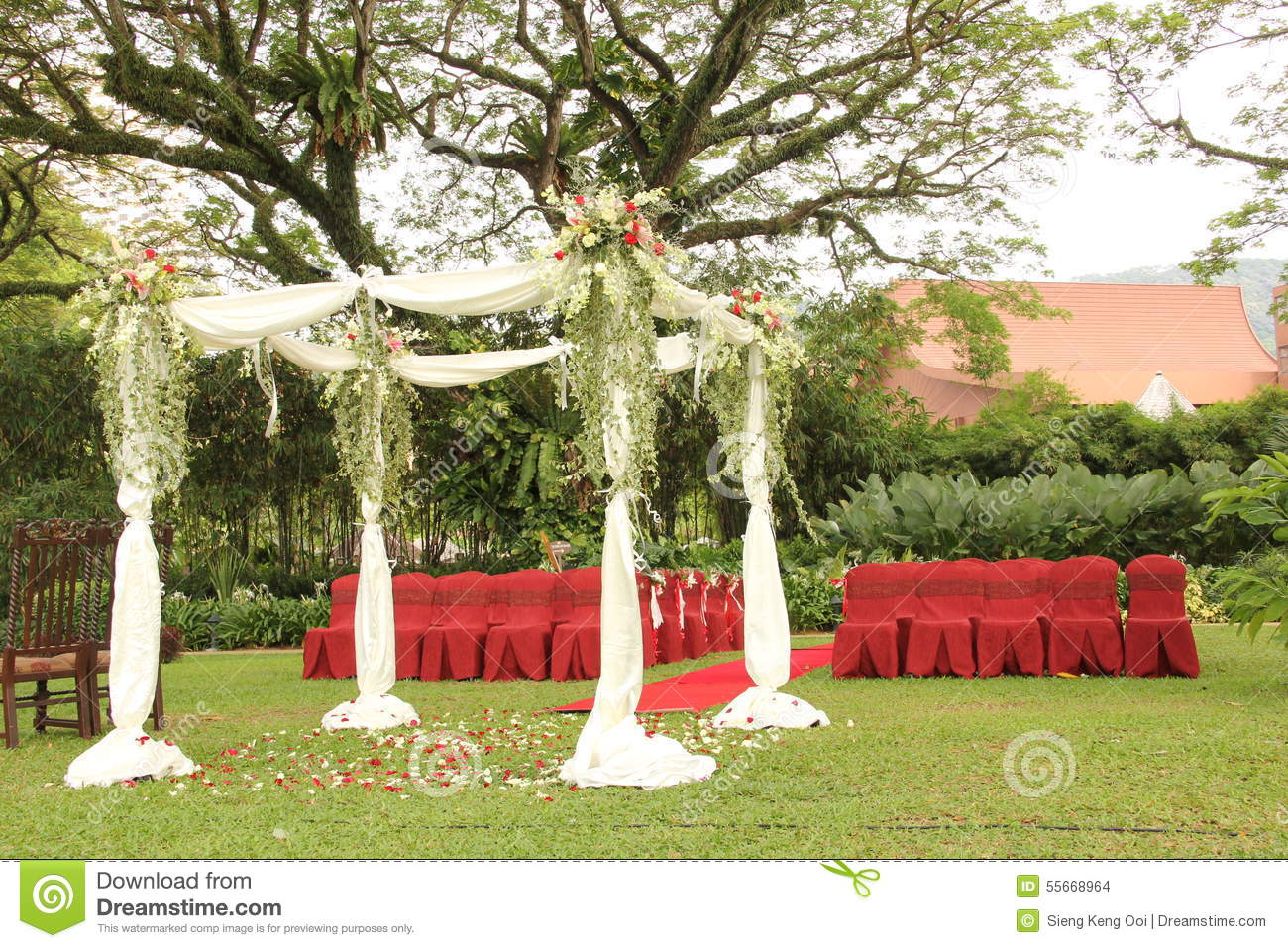 Garden Wedding Arch Decoration Stock Photo Image Of Decoration Flowers 55668964