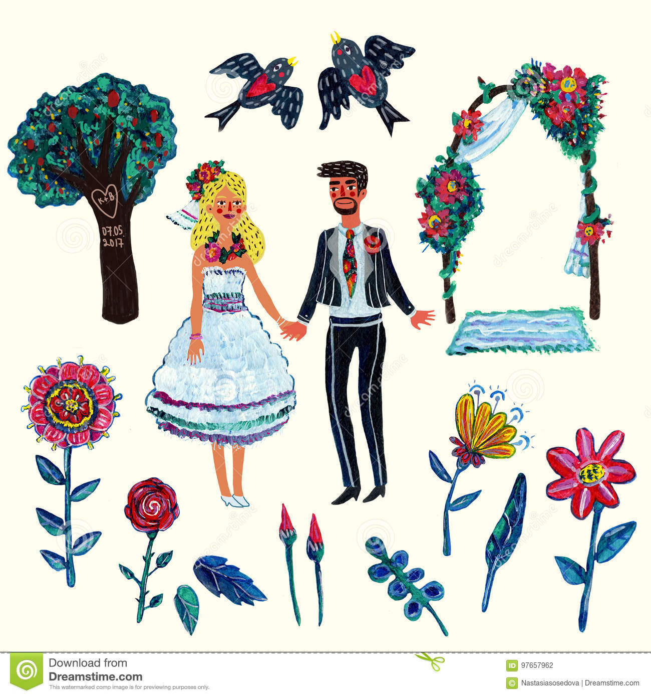 Garden Wedding Clipart With Bride Groom Two Swallowes Flowers Leaves Tree And Arch