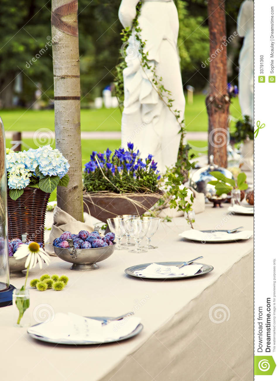 Garden Wedding Table Setting Stock Photo Image 33791360