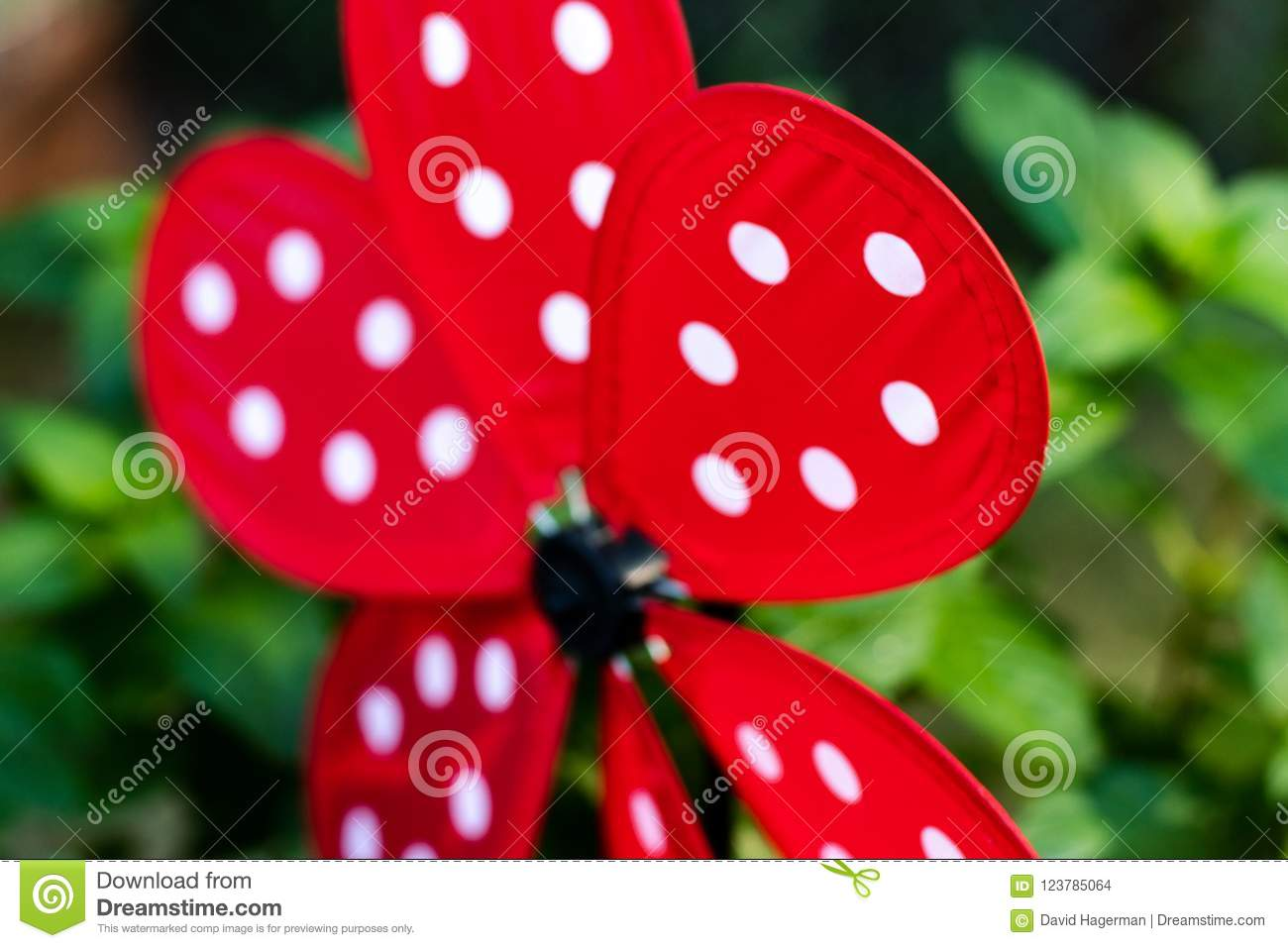 Download Garden Whirligig Abstract Red With White Ladybug Dots Stock Photo    Image Of Speed,