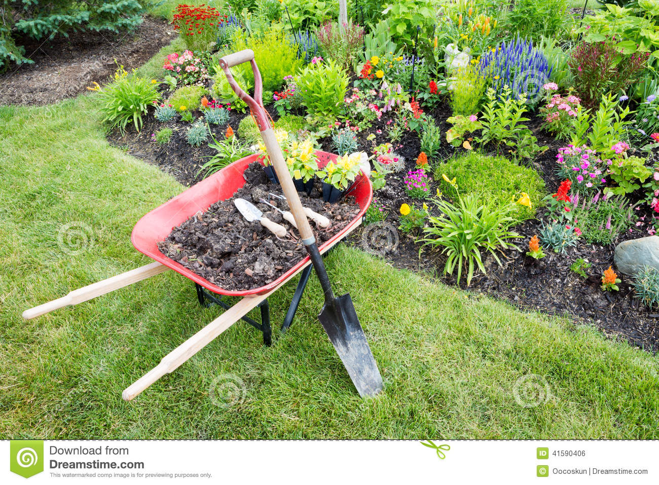 Garden work being done landscaping a flowerbed stock photo for Topsoil garden soil