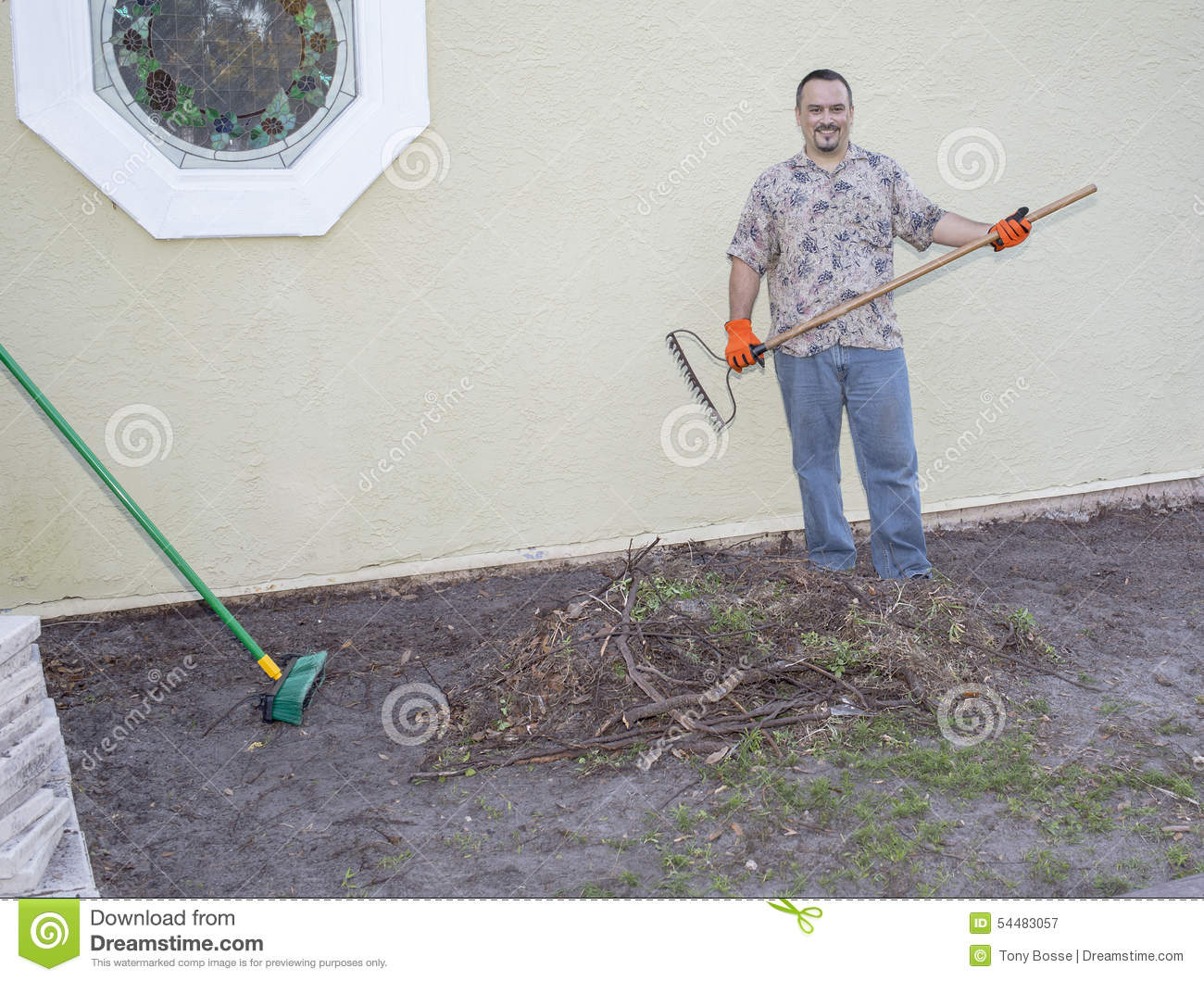 Gardener landscaper digging shovel retro stock photo for Digging ground dream meaning