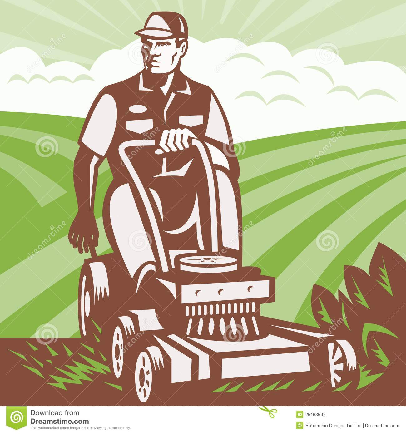 Gardener landscaper riding lawn mower retro stock vector for Paysagiste logo