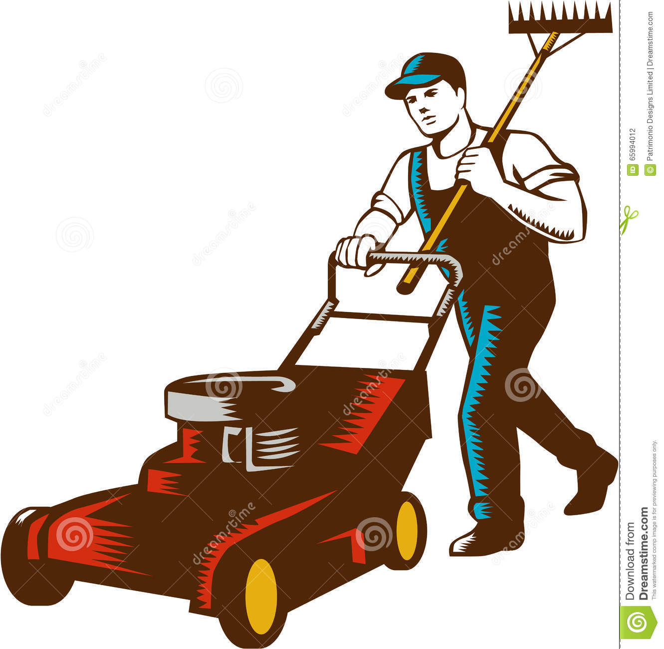 Gardener Lawn Mower Rake Woodcut Stock Illustration