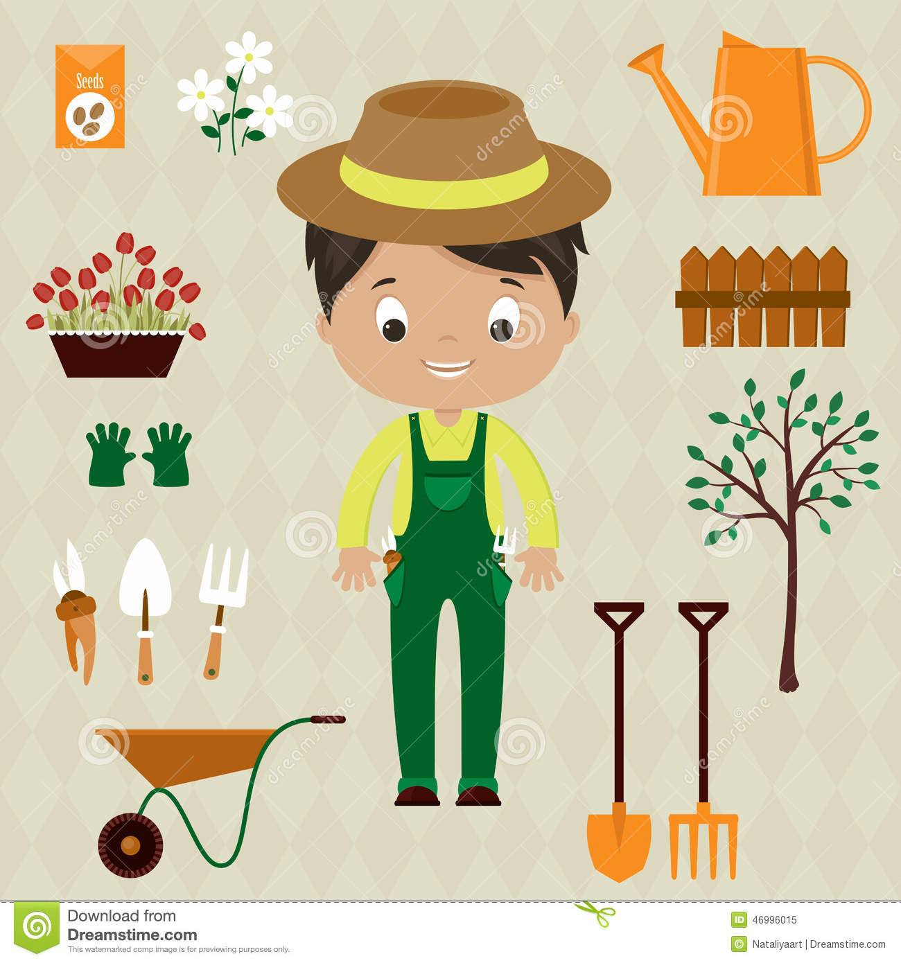 Gardener man with garden tools stock vector image 46996015 for Gardening tools cartoon