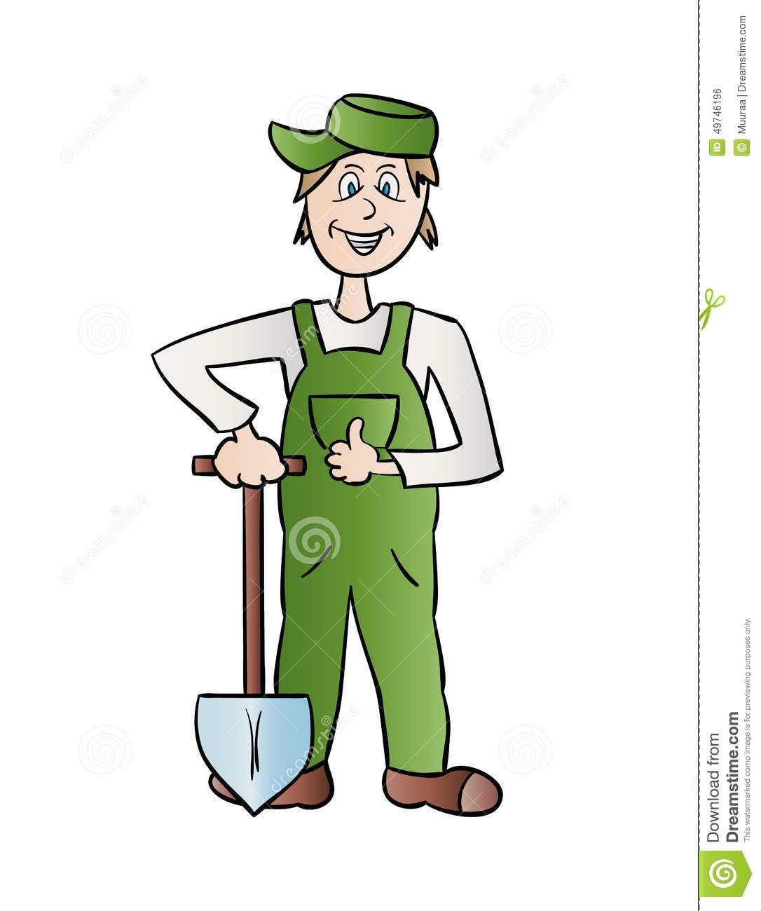 Gardener man with the spade, cartoon, isolated.