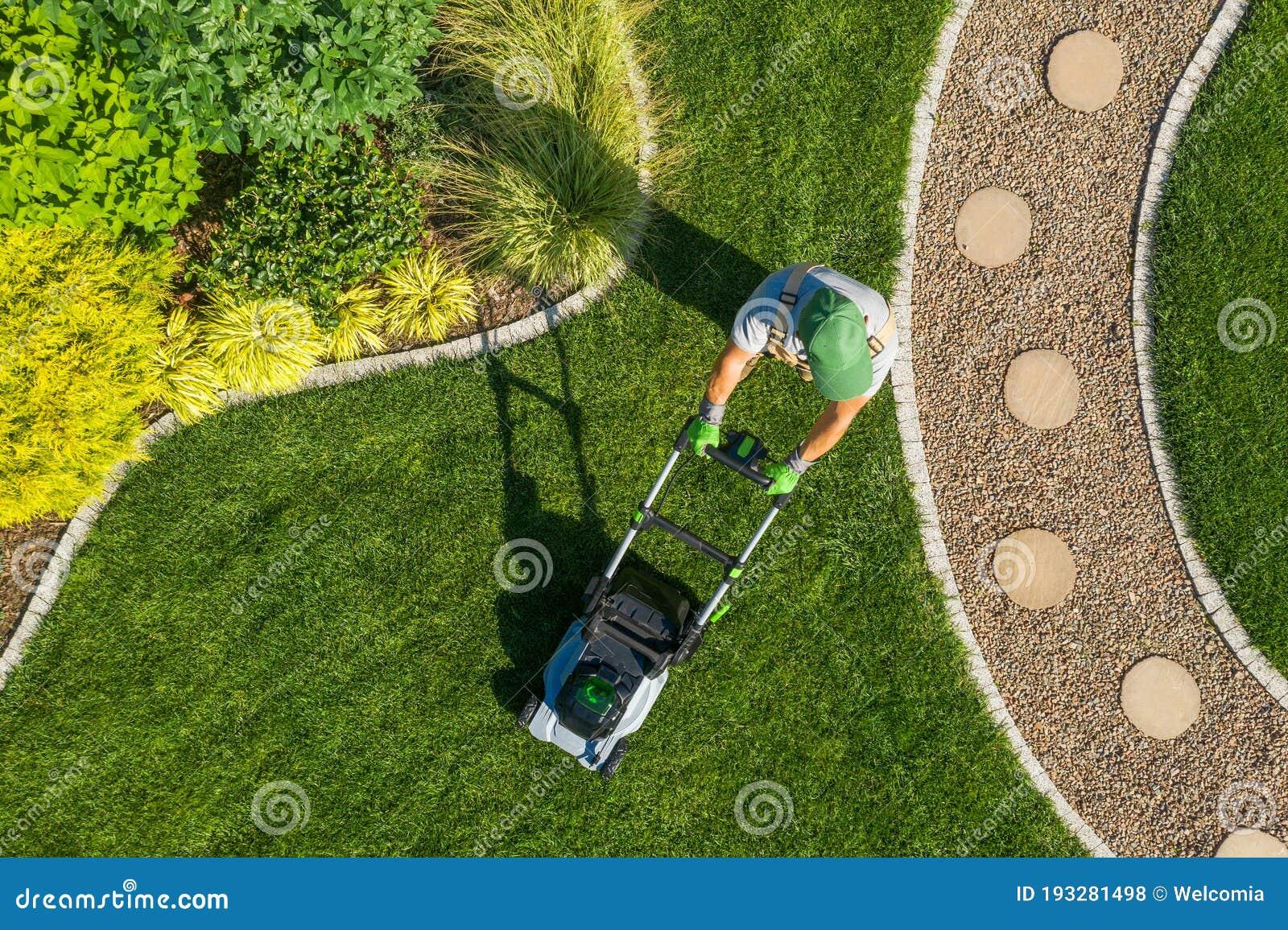 Gardener Mowing Backyard Garden Grass Aerial View Stock Photo Image Of Trimming Landscaping 193281498