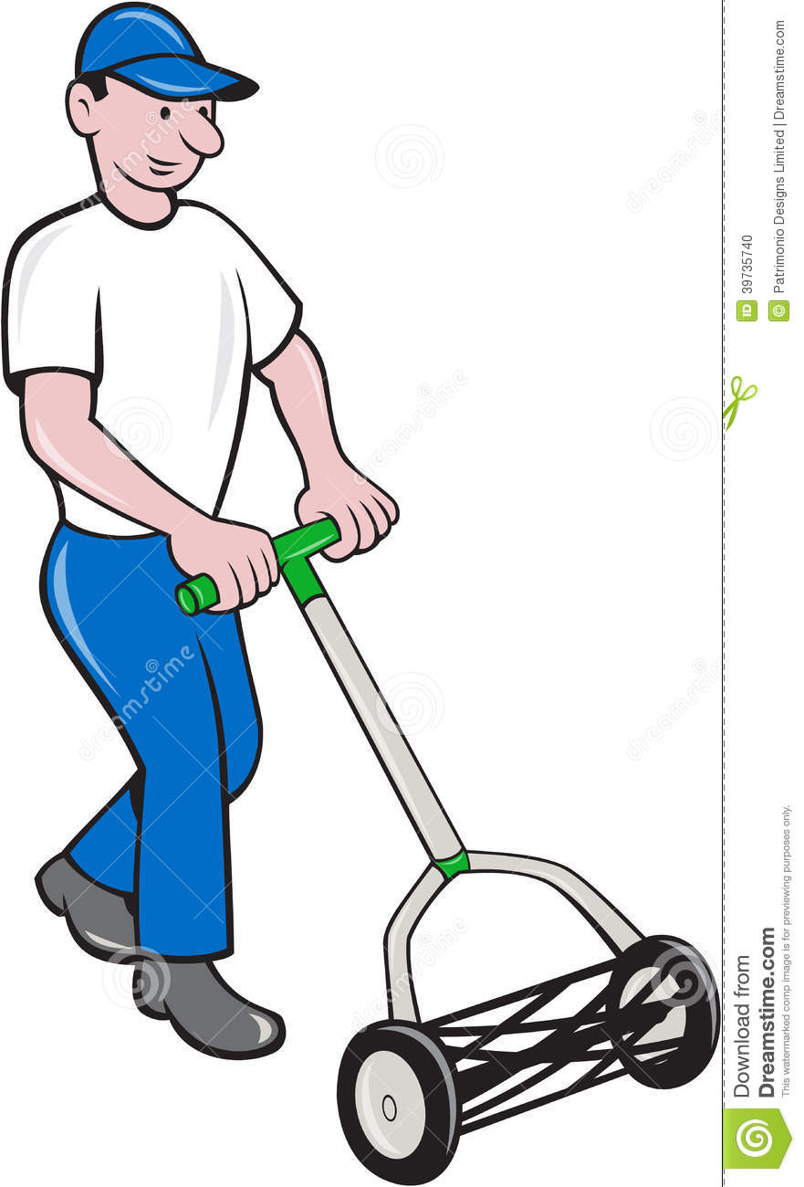 Illustration of male gardener mowing with manual lawn cylinder reel ...