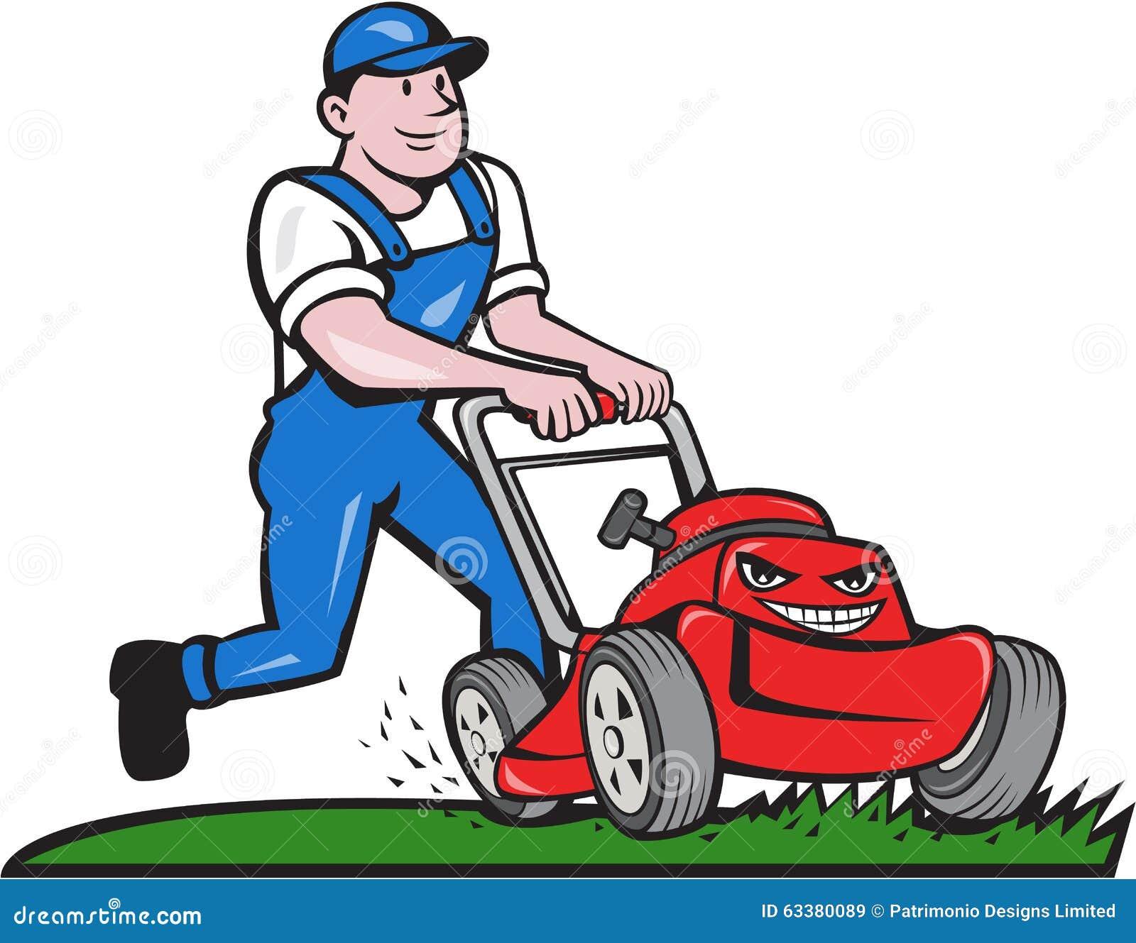 Gardener Mowing Lawn Mower Cartoon Stock Vector ...