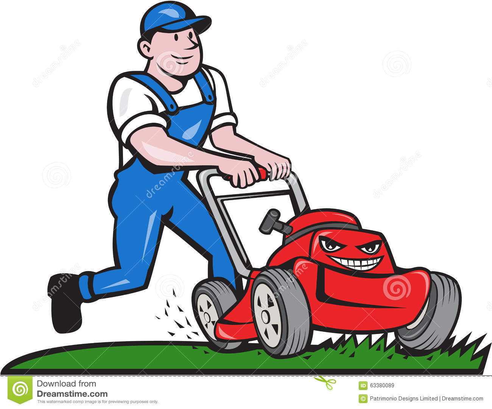 Cartoon Man On Mower : Gardener mowing lawn mower cartoon stock vector