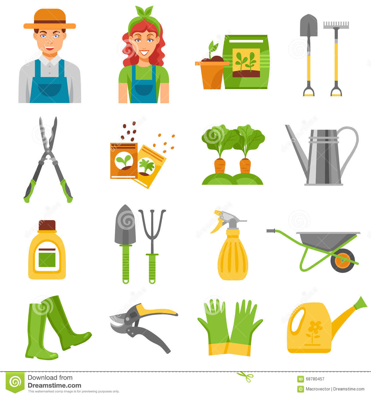 Gardener tools accessories flat icons set stock vector for Gardening tools and accessories