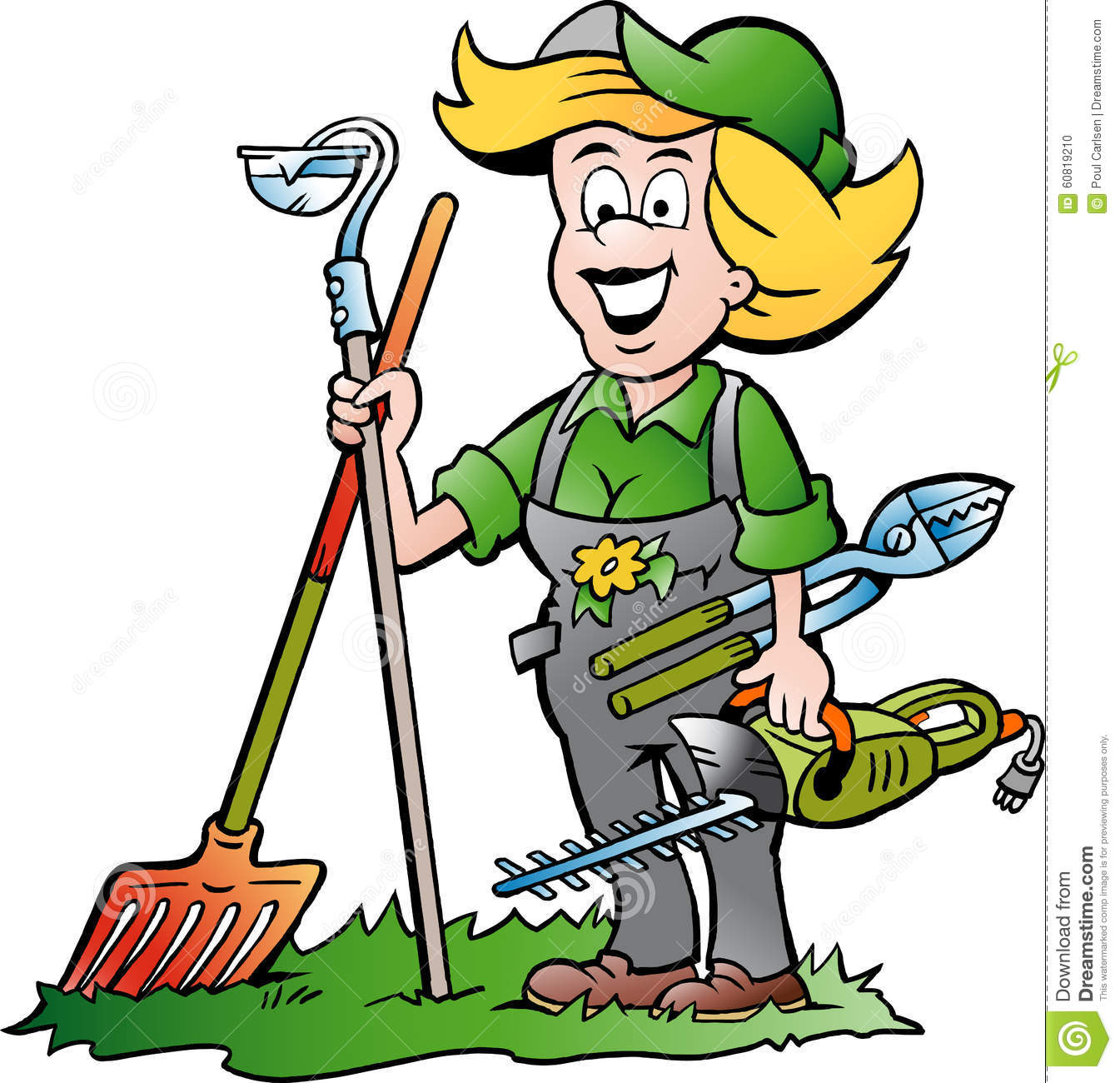 Gardener Woman Standing With He Garden Tools Stock