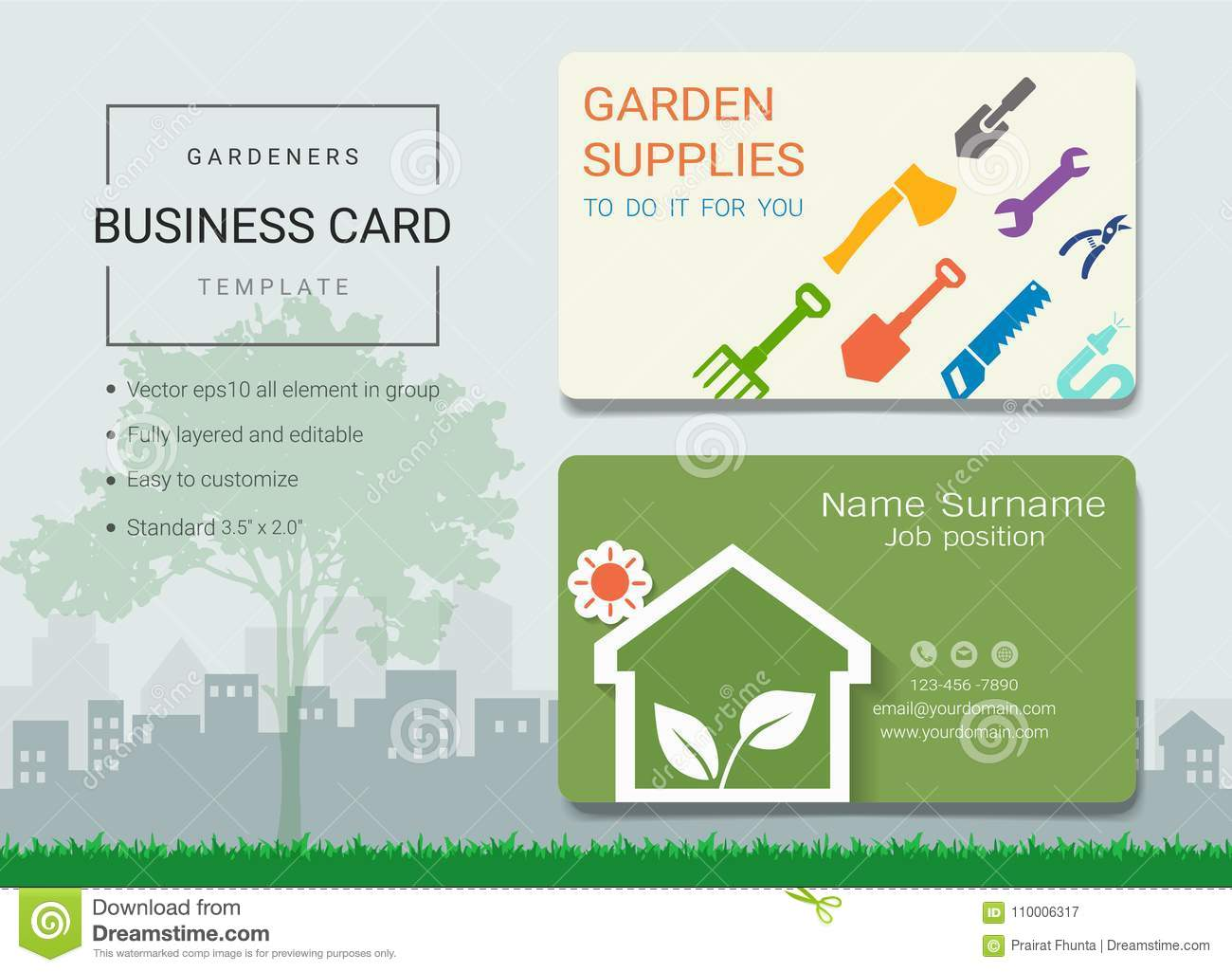 Gardeners business card or name card template stock vector gardeners business card or name card template royalty free vector reheart Gallery