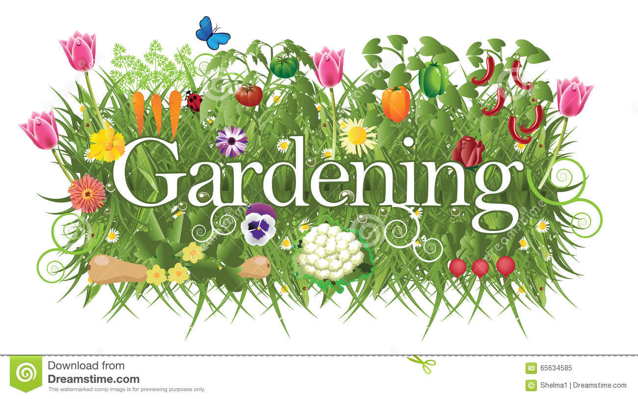 Gardening banner with grass, flowers and vegetable