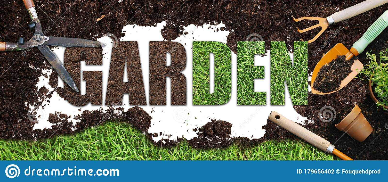 Garden Banner Illustration Garden Tools On Brown Soil And Gardening Word Text Stock Photo Image Of Gloves Background 179656402