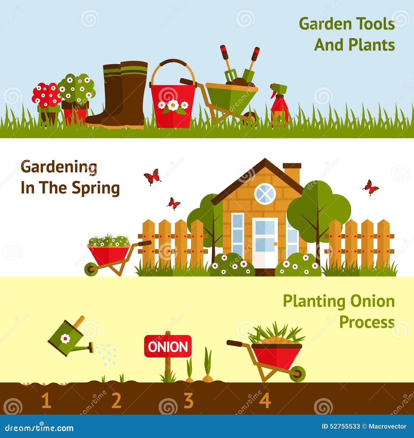 Gardening Banners Set Stock Vector Image 52755533