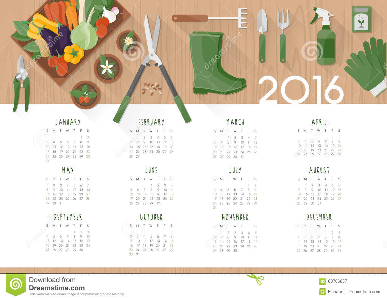 Gardening calendar 2016 stock vector image 60766057 for Top gardening tools 2016