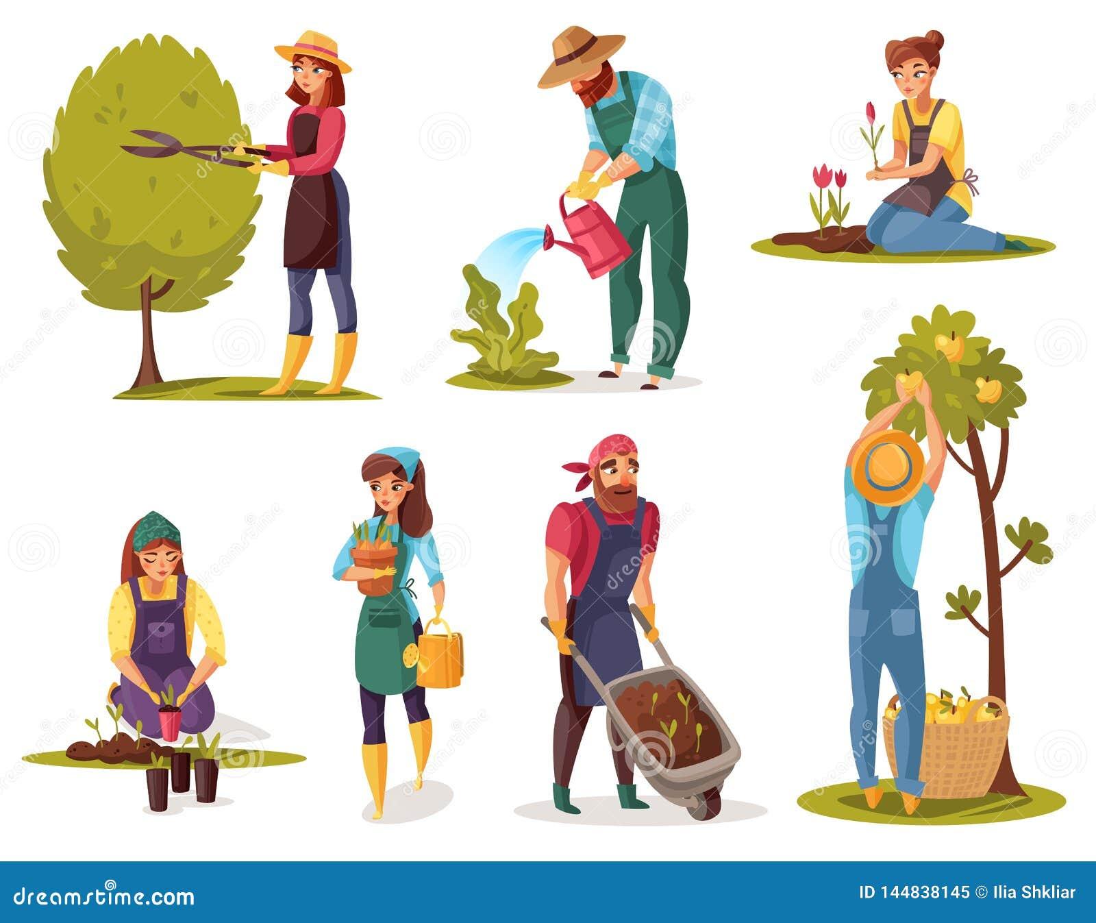 The Landscape Gardener: Gardening Cartoon Set Stock Vector. Illustration Of Care