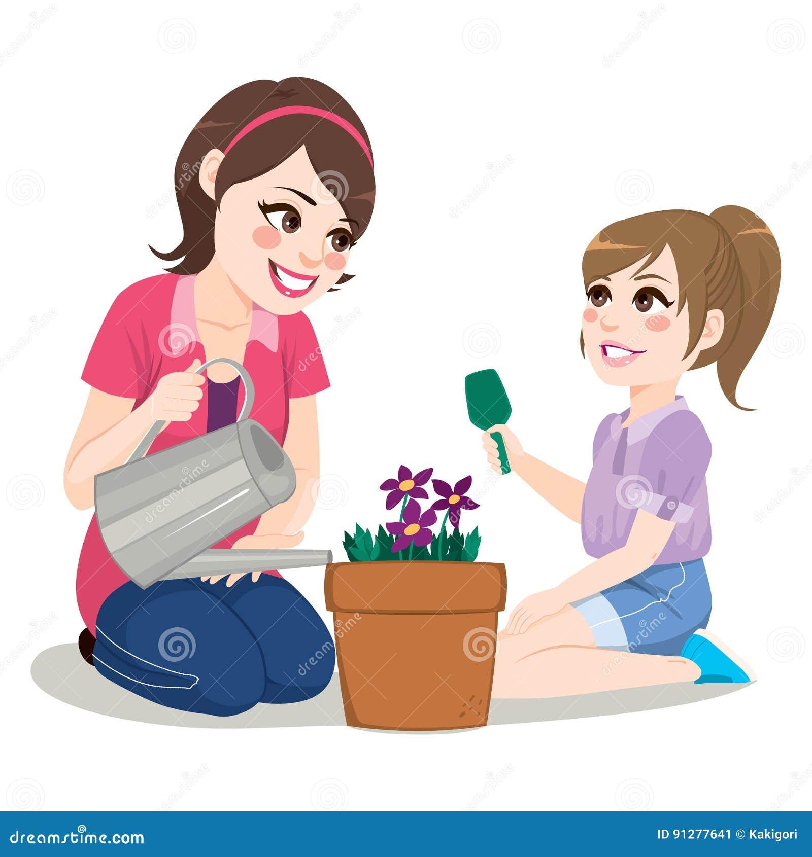 Gardening Daughter Mother