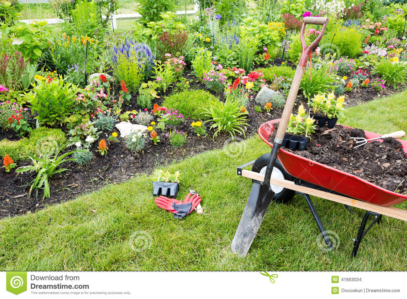 Gardening equipment ready for use stock photo image for Gardening tools used in planting crossword clue