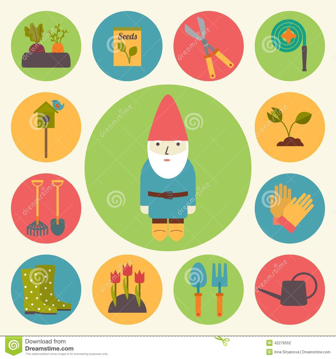 Flat design rubber hose vector illustration for Landscape design icons