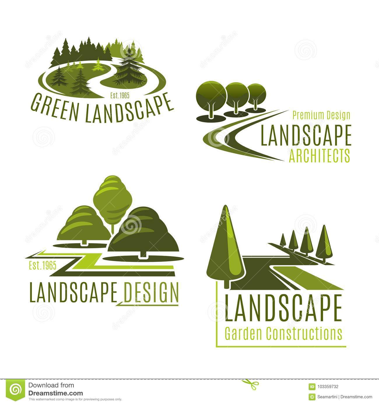 Vector icons for nature landscaping company - Vector Icons For Nature Landscaping Company Stock Vector