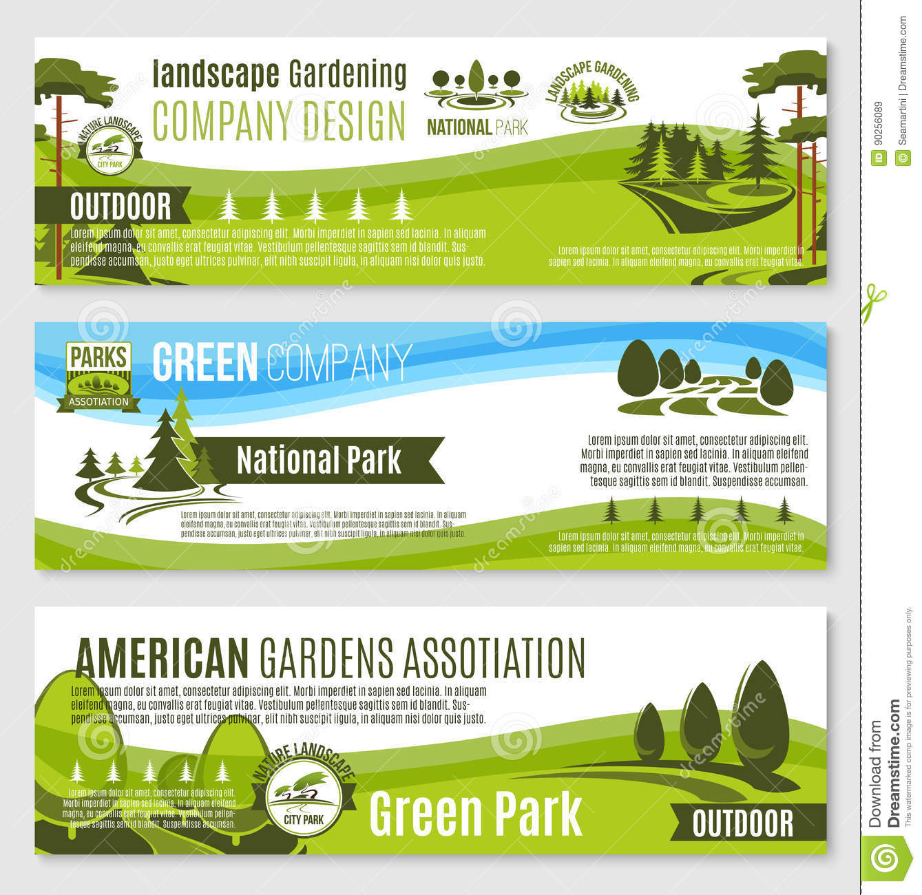 gardening or green landscape design vector banners stock vector