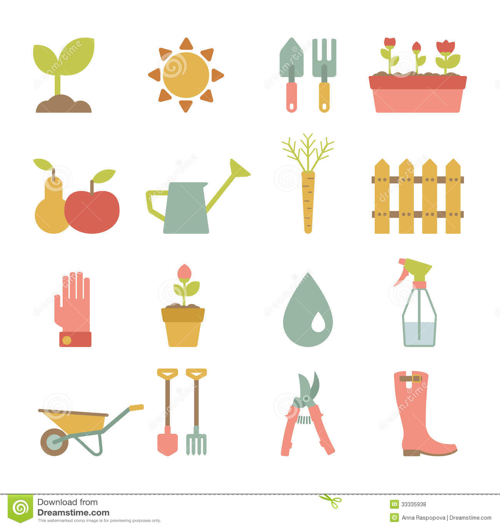 Gardening Icons Stock Vector. Illustration Of Flower