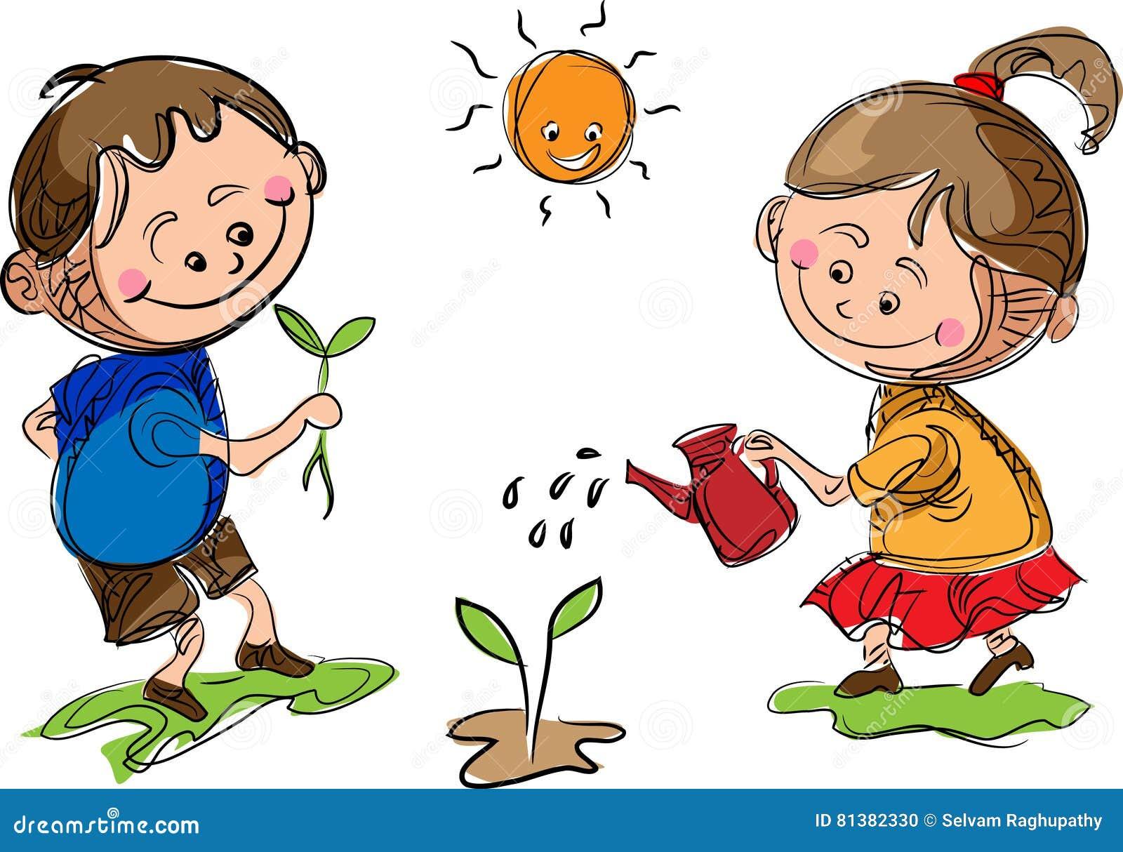 Gardening kids stock vector. Illustration of family ...