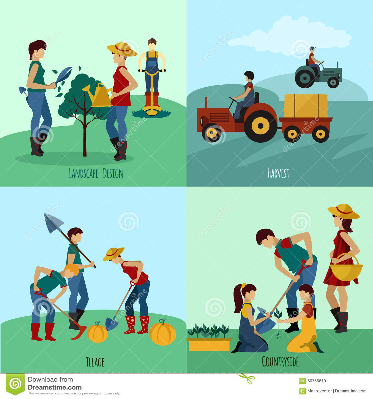 Gardening people flat set stock vector image 60766610 for Landscape design icons