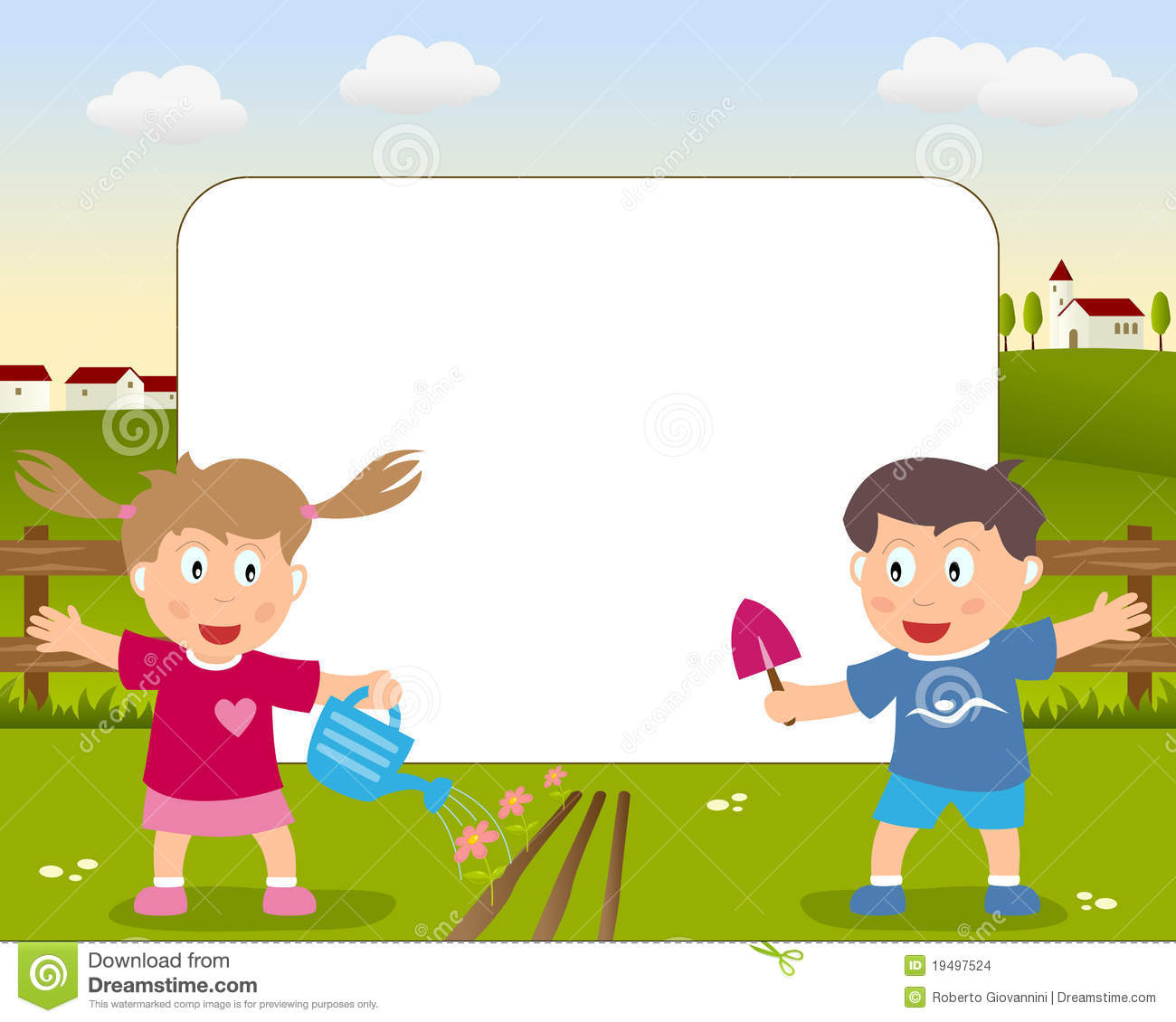 funny cartoon photo frame with a girl and a boy playing with