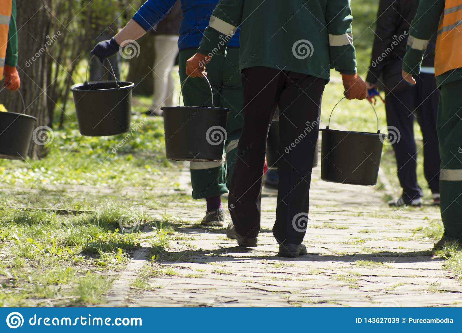 Unfocused gardening service workers going in far with buckets with water to watering spring ground and trees at sunny day