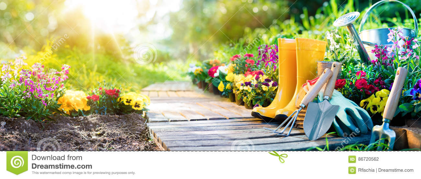 Gardening - Set Of Tools For Gardener And Flowerpots