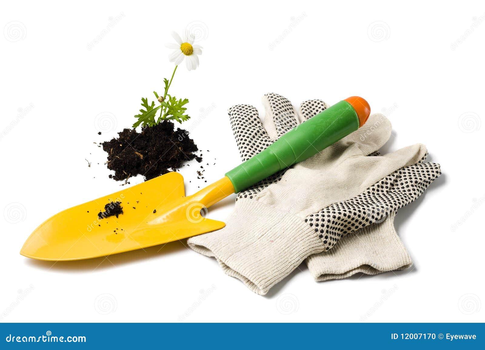 Gardening Shovel And Gloves Stock Image