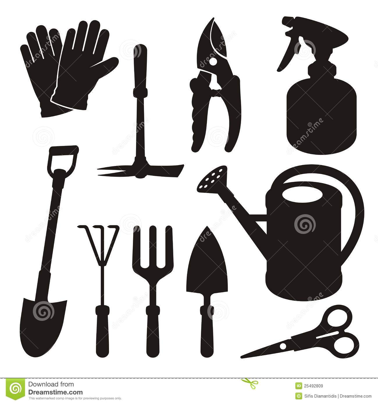 set of gardening tool silhouette icons isolated on white background.