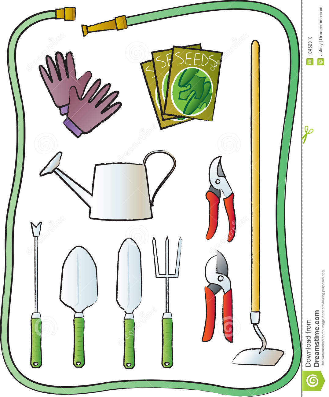 Gardening tools royalty free stock photos image 18452918 for Common garden hand tools
