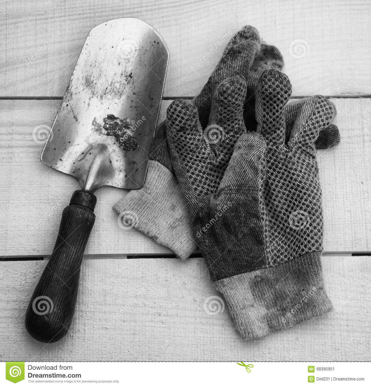 Black gardening gloves - Gardening Tools In Black And White Stock Image