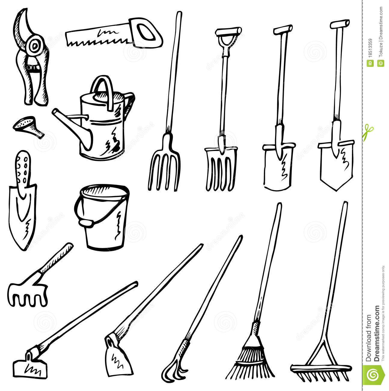 hoe garden tool coloring pages - photo#15