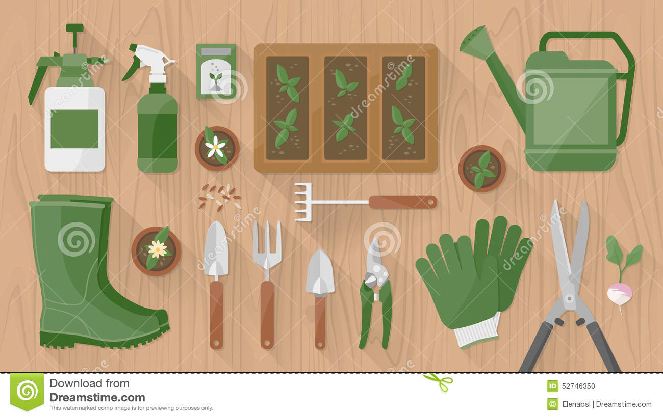 Gardening tools and equipment stock vector illustration for Tools and equipment in planting