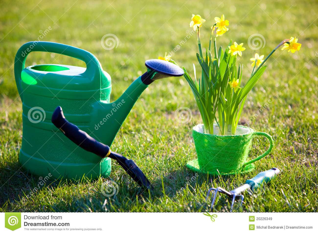 Gardening tools and flowers royalty free stock images for Gardening tools watering