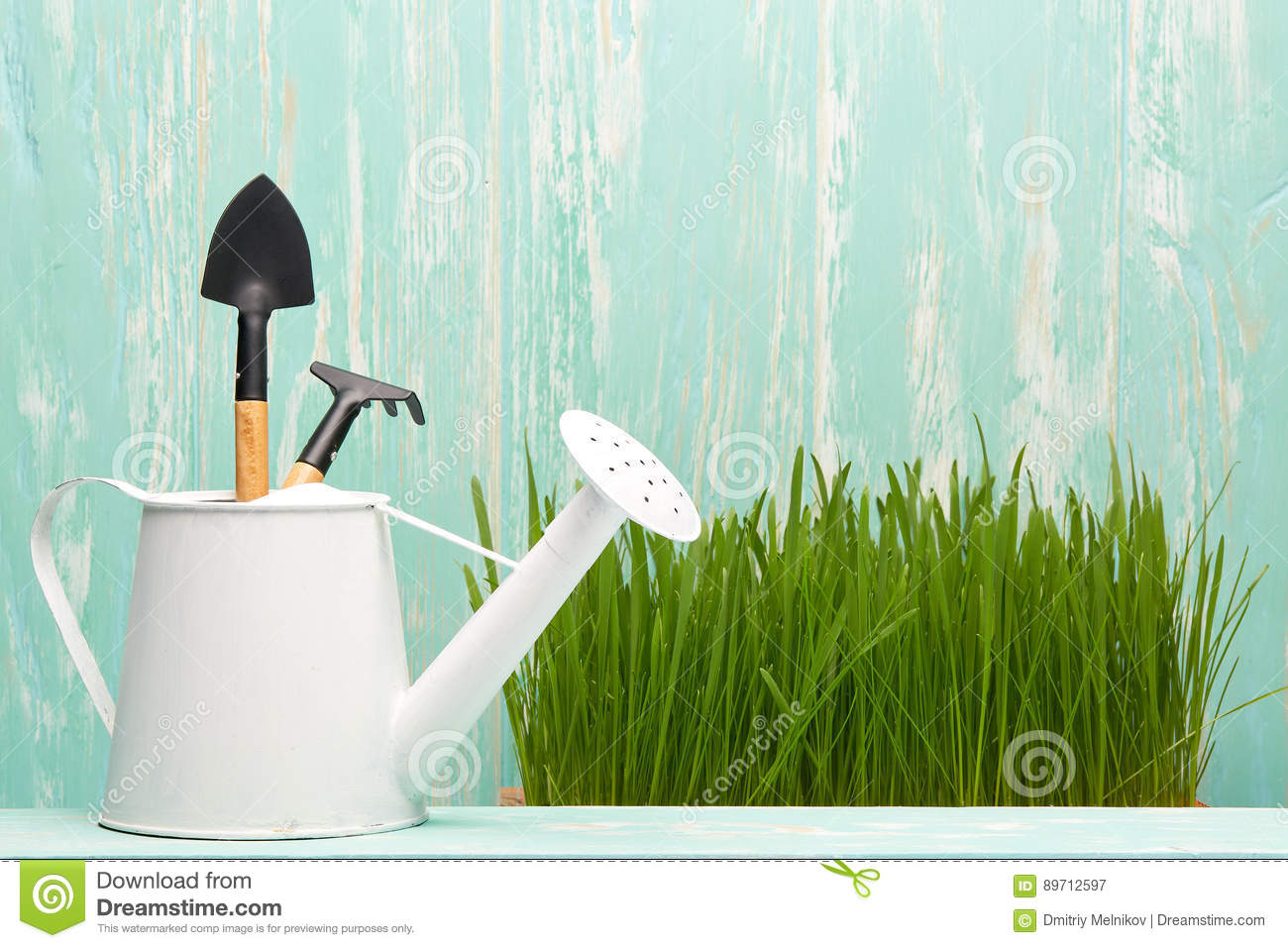 Gardening tools and grass stock image image of concept for Gardening tools watering