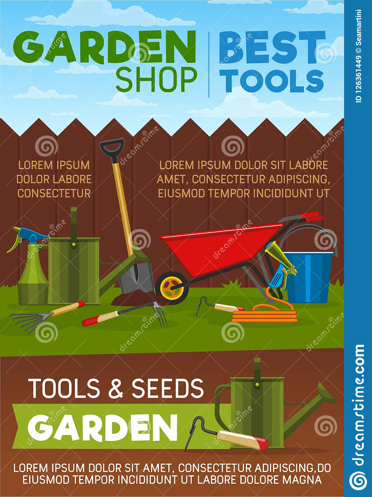 Gardening Tools, Items And Equipment Stock Vector - Illustration of ...